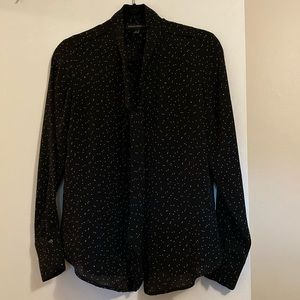 Banana Republic black and white dot print blouse